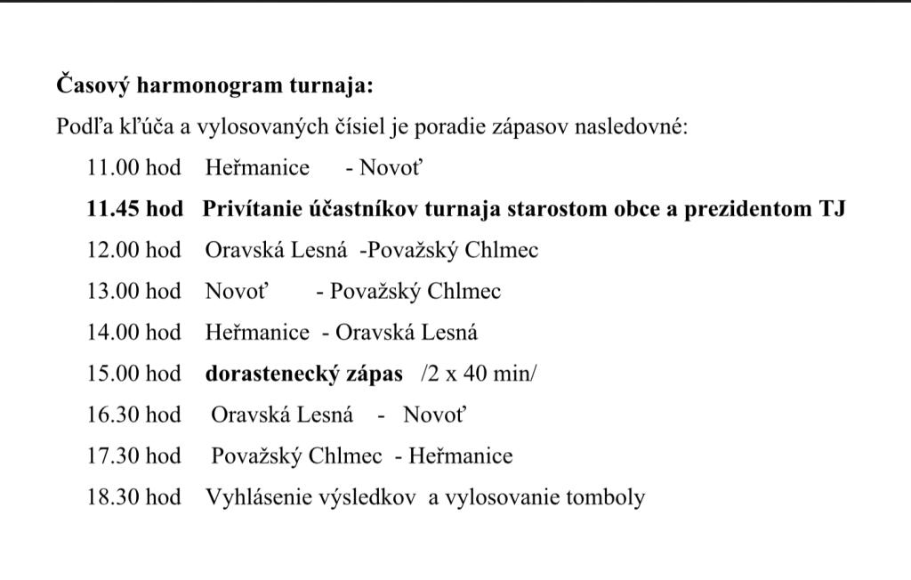 ROZPIS ZÁPASOV